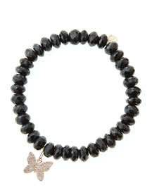 Black Spinel Beaded Bracelet with 14k Gold/Diamond Small Butterfly Charm (Made to Order)