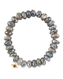 10mm Mystic Labradorite Beaded Bracelet with 14k Yellow Gold/Diamond Small Evil Eye Charm (Made ...
