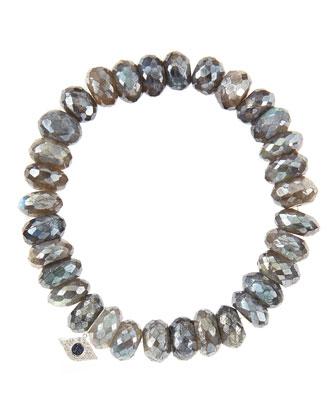 10mm Mystic Labradorite Beaded Bracelet with 14k White Gold/Diamond Small Evil Eye Charm (Made ...