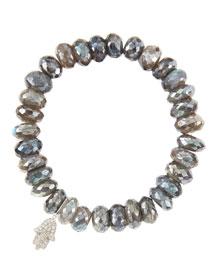 10mm Mystic Labradorite Beaded Bracelet with 14k White Gold/Diamond Small Hamsa Charm (Made to ...