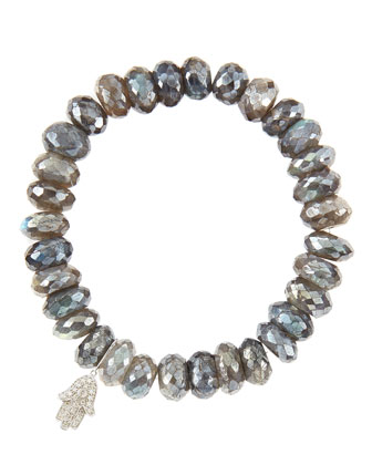 10mm Mystic Labradorite Beaded Bracelet with 14k White Gold/Diamond Small Hamsa Charm (Made to ...