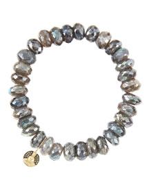 10mm Mystic Labradorite Beaded Bracelet with 14k Gold/Diamond Small Buddha Charm (Made to Order)