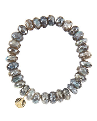 10mm Mystic Labradorite Beaded Bracelet with 14k Gold/Diamond Small Buddha Charm (Made to Order)