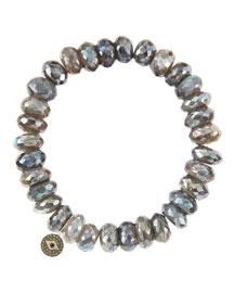 10mm Mystic Labradorite Beaded Bracelet with 14k Gold/Diamond Round Evil Eye Charm (Made to ...