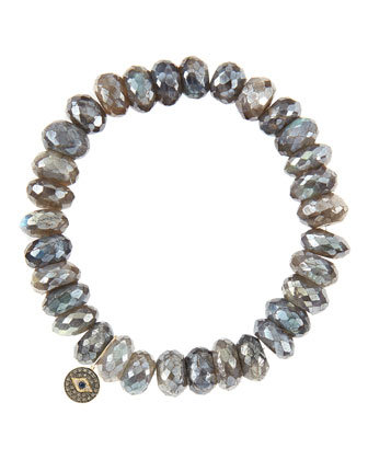 10mm Mystic Labradorite Beaded Bracelet with 14k Gold/Diamond Round Evil Eye Charm (Made to ...