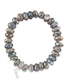 10mm Mystic Labradorite Beaded Bracelet with 14k White Gold/Diamond Small Love Charm (Made to ...
