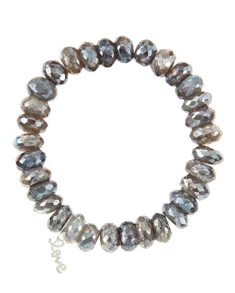 10mm Mystic Labradorite Beaded Bracelet with 14k White Gold/Diamond Small Love Charm (Made to ...