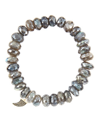 10mm Mystic Labradorite Beaded Bracelet with 14k Gold/Diamond Small Horn Charm (Made to Order)