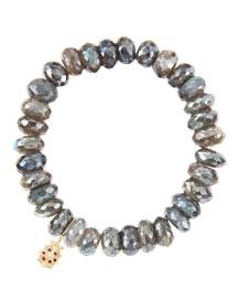 10mm Mystic Labradorite Beaded Bracelet with 14k Gold/Diamond Medium Ladybug Charm (Made to Order)
