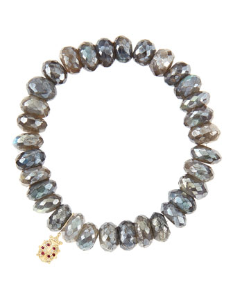 10mm Mystic Labradorite Beaded Bracelet with 14k Gold/Diamond Medium Ladybug Charm (Made to Order)