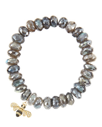 10mm Mystic Labradorite Beaded Bracelet with 14k Gold/Diamond Small Bee Charm (Made to Order)