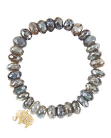 10mm Mystic Labradorite Beaded Bracelet with 14k Gold/Diamond Small Elephant Charm (Made to Order)