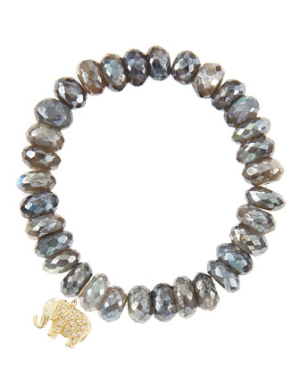 10mm Mystic Labradorite Beaded Bracelet with 14k Gold/Diamond Small Elephant Charm (Made to Order)