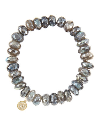 10mm Mystic Labradorite Beaded Bracelet with 14k Yellow Gold/Diamond Small Disc Charm (Made to ...