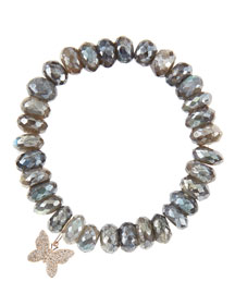 10mm Mystic Labradorite Beaded Bracelet with 14k Gold/Diamond Small Butterfly Charm (Made to Order)