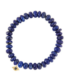 8mm Faceted Lapis Beaded Bracelet with 14k Yellow Gold/Diamond Small Evil Eye Charm (Made to ...