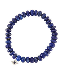 8mm Faceted Lapis Beaded Bracelet with 14k White Gold/Diamond Small Evil Eye Charm (Made to ...