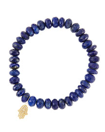8mm Faceted Lapis Beaded Bracelet with 14k Yellow Gold/Diamond Small Hamsa Charm (Made to ...
