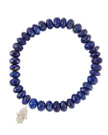 8mm Faceted Lapis Beaded Bracelet with 14k White Gold/Diamond Small Hamsa Charm (Made to Order) ...