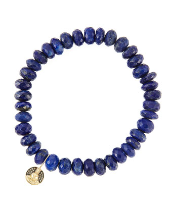 8mm Faceted Lapis Beaded Bracelet with 14k Gold/Diamond Small Buddha Charm (Made to Order)