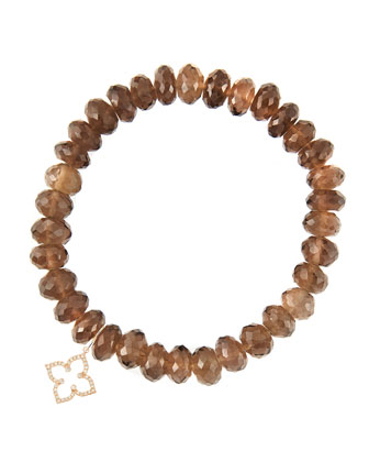 8mm Faceted Smoky Quartz Beaded Bracelet with 14k Gold/Diamond Small Moroccan Flower Charm ...