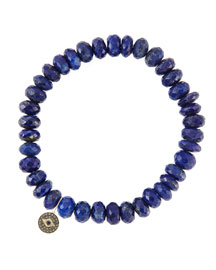 8mm Faceted Lapis Beaded Bracelet with 14k Gold/Diamond Round Evil Eye Charm (Made to Order) ...