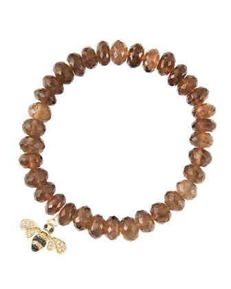 8mm Faceted Smoky Quartz Beaded Bracelet with 14k Gold/Diamond Small Bee Charm (Made to Order) ...