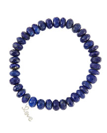 8mm Faceted Lapis Beaded Bracelet with 14k Gold/Diamond Small Love Charm (Made to Order)