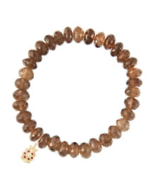 8mm Faceted Smoky Quartz Beaded Bracelet with 14k Gold/Diamond Medium Ladybug Charm (Made to ...