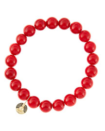 8mm Red Coral Beaded Bracelet with 14k Gold/Diamond Small Buddha Charm (Made to Order)