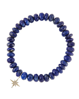 8mm Faceted Lapis Beaded Bracelet with 14k Gold/Diamond Small Starburst Charm (Made to Order)