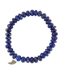 8mm Faceted Lapis Beaded Bracelet with 14k Gold/Diamond Small Horn Charm (Made to Order)