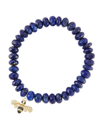 8mm Faceted Lapis Beaded Bracelet with 14k Gold/Diamond Small Bee Charm (Made to Order)