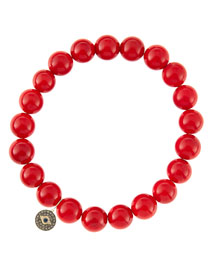 8mm Red Coral Beaded Bracelet with 14k Gold/Diamond Round Evil Eye Charm (Made to Order) ...
