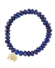 8mm Faceted Lapis Beaded Bracelet with 14k Gold/Diamond Small Elephant Charm (Made to Order)