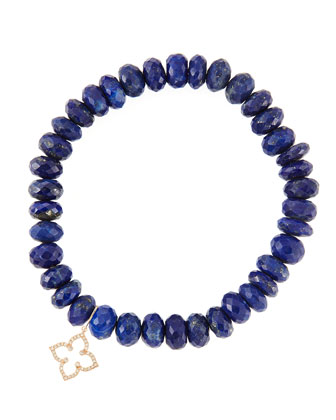 8mm Faceted Lapis Beaded Bracelet with 14k Gold/Diamond Small Moroccan Flower Charm (Made to ...
