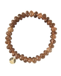 8mm Faceted Smoky Quartz Beaded Bracelet with 14k Gold/Diamond Small Buddha Charm (Made to ...