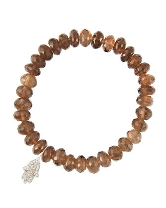 8mm Faceted Smoky Quartz Beaded Bracelet with 14k White Gold/Diamond Small Hamsa Charm (Made to ...