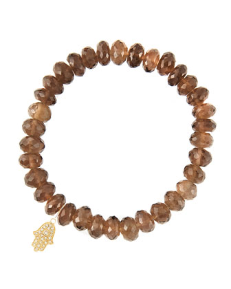 8mm Faceted Smoky Quartz Beaded Bracelet with 14k Yellow Gold/Diamond Small Hamsa Charm (Made ...