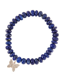 8mm Faceted Lapis Beaded Bracelet with 14k Gold/Diamond Small Butterfly Charm (Made to Order)