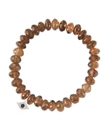 8mm Faceted Smoky Quartz Beaded Bracelet with 14k White Gold/Diamond Small Evil Eye Charm (Made ...