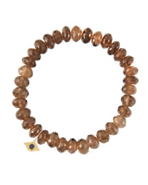 8mm Faceted Smoky Quartz Beaded Bracelet with 14k Yellow Gold/Diamond Small Evil Eye Charm ...