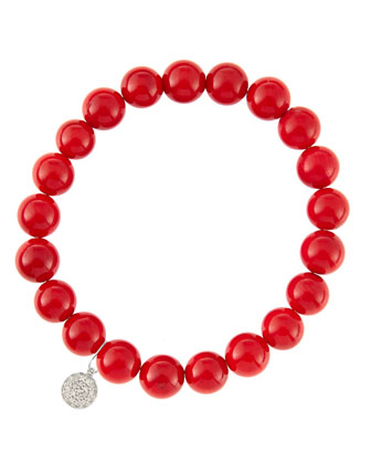 8mm Red Coral Beaded Bracelet with 14k White Gold/Diamond Small Disc Charm (Made to Order) ...