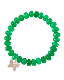 8mm Faceted Green Onyx Beaded Bracelet with 14k Gold/Diamond Small Butterfly Charm (Made to ...