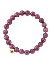 8mm Natural Ruby Beaded Bracelet with 14k Yellow Gold/Diamond Small Evil Eye Charm (Made to ...
