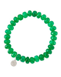8mm Faceted Green Onyx Beaded Bracelet with 14k White Gold/Diamond Small Disc Charm (Made to ...