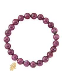 8mm Natural Ruby Beaded Bracelet with 14k Yellow Gold/Diamond Small Hamsa Charm (Made to Order) ...