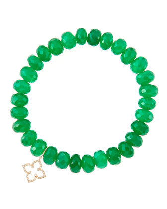 8mm Faceted Green Onyx Beaded Bracelet with 14k Gold/Diamond Small Moroccan Flower Charm (Made ...