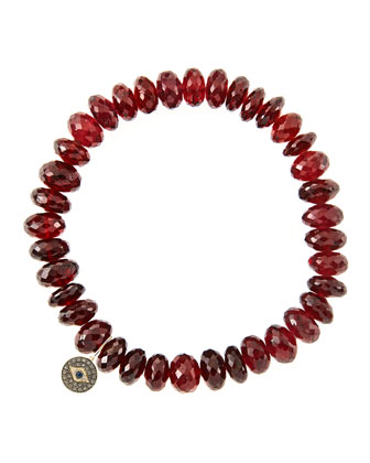8mm Faceted Garnet Beaded Bracelet with 14k Gold/Diamond Round Evil Eye Charm (Made to Order) ...