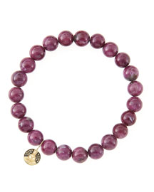 8mm Natural Ruby Beaded Bracelet with 14k Gold/Diamond Small Buddha Charm (Made to Order)